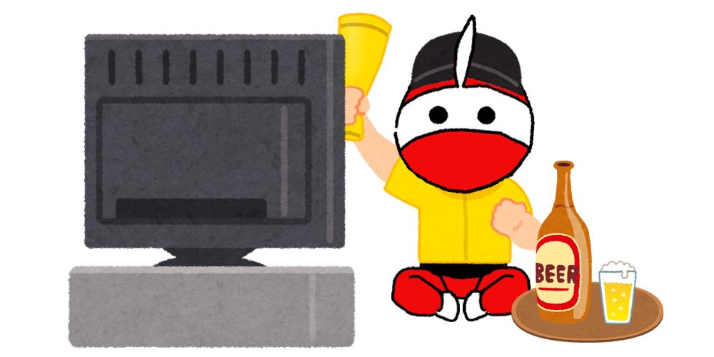 テレビ観戦する佐藤さん